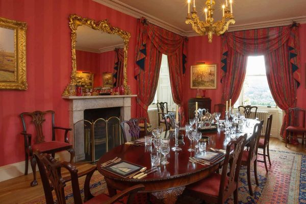 A colour image of the dining room at Edradynate Estate - Luxury self catering accommodation in Scotland - Edradynate Country House and Sporting Estate House Perthshire