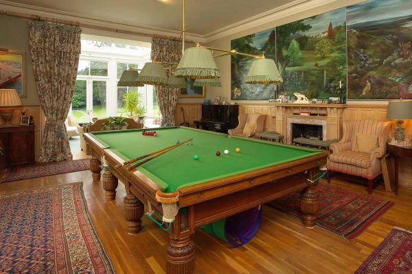 A colour photograph of the billiard room at Edradynate Country House -Luxury self catering accommodation in Scotland - Edradynate Country House and Sporting Estate House Perthshire