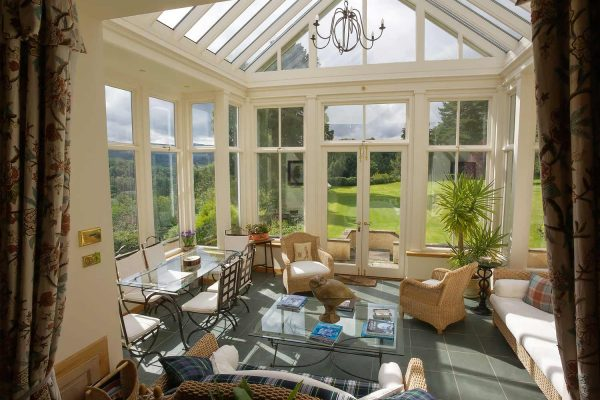 A colour photograph of the conservatory at Edradynate - Luxury self catering accommodation in Scotland - Edradynate Country House and Sporting Estate House Perthshire