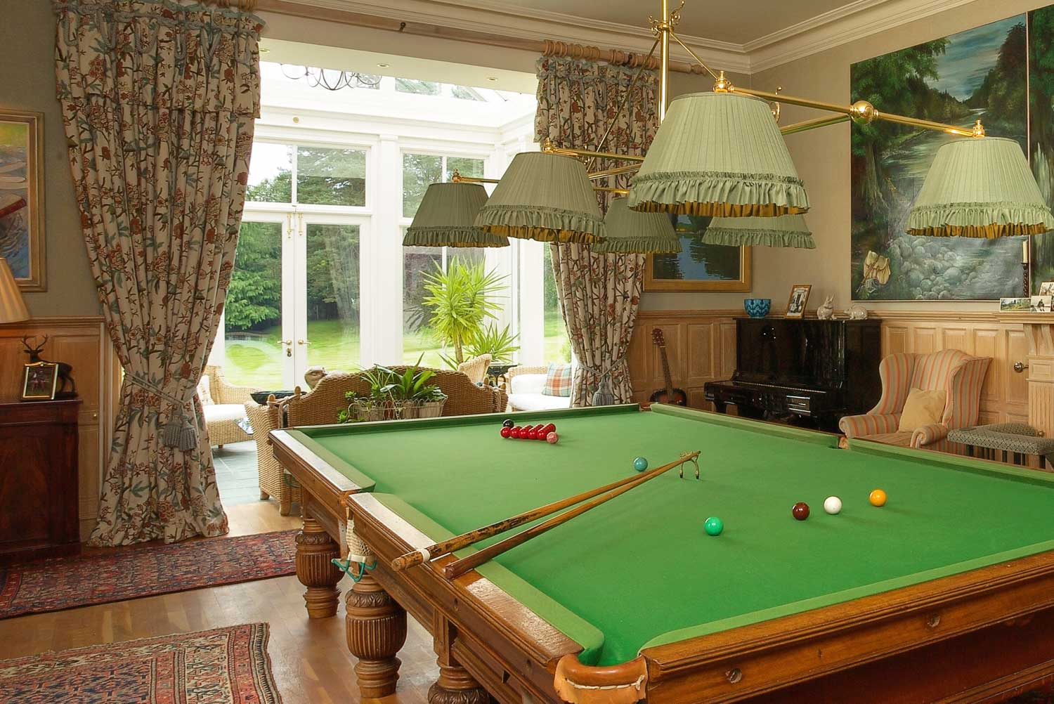 A colour image of the Pool table at Edradynate estate luxury self catering accommodation in Scotland - Edradynate Country House and Sporting Estate House Perthshire Scotland
