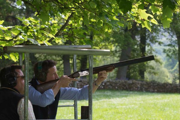 A colour photo of a guest enjoying clay pigeon shooting at the Edradynate clay pigeon shoot day May 2017 - Edradynate Estate, Perthshire - Luxury Country House and Sporting Estate for Rent in Scotland