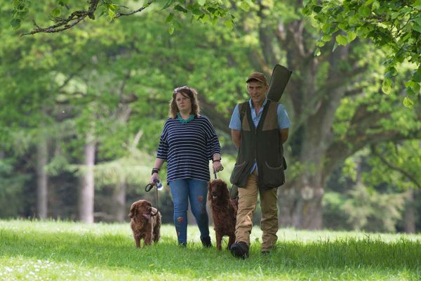 An image of guests walking their dogs and enjoying the Edradynate May 2017 clay pigeon shoot day - Edradynate Estate, Perthshire - Luxury Country House and Sporting Estate for Rent in Scotland