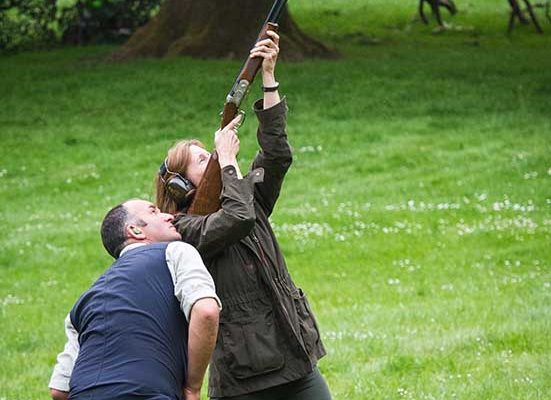 An image of Vicki Smith Housekeeper with Ian Smith Headkeeper, clay pigeon shooting at the Edradynate May 2017 clay pigeon shoot day - Edradynate Estate, Perthshire - Luxury Country House and Sporting Estate for Rent in Scotland