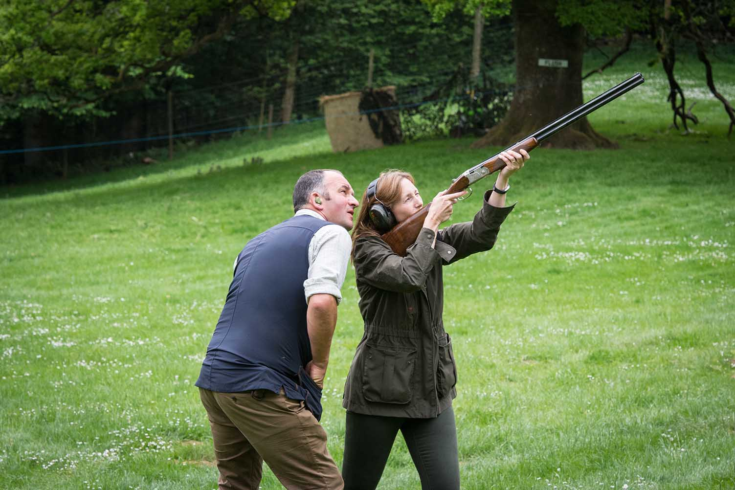 An image of Vicki Smith Housekeeper with Ian Smith Headkeeper, clay pigeon shooting at the Edradynate May 2017 shoot day - Edradynate Estate, Perthshire - Luxury Country House and Sporting Estate for Rent in Scotland