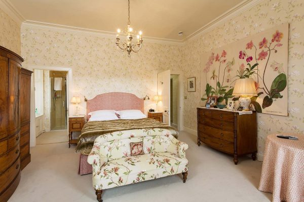 An image of the recently decorated master bedroom with ensuite at Edradynate Country House and Sporting Estate Scotland,