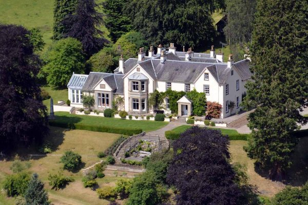A colour aerial view of Edradynate Country House and Sporting Estate Perthsire