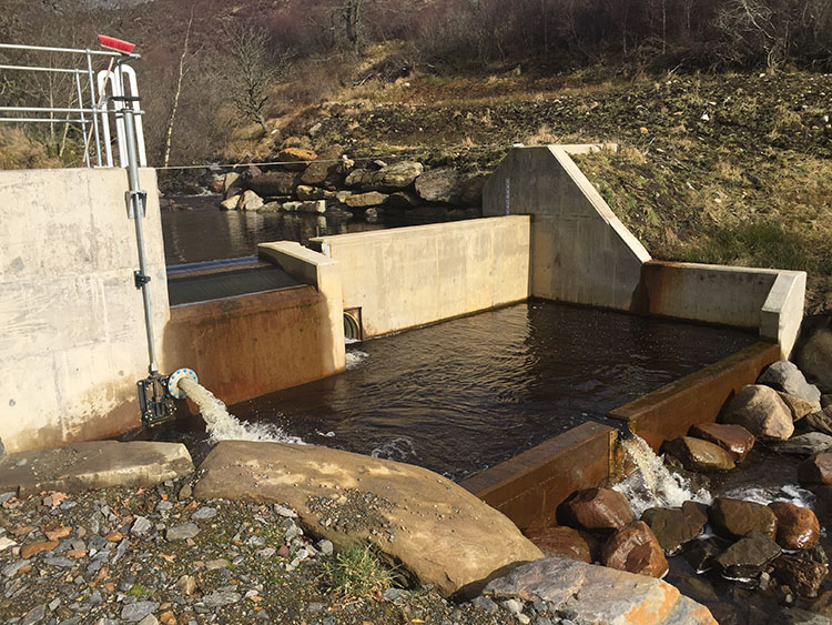 A colour image of The Beinn Eagagach Hydro Scheme working and generating electricity on Edradynate Estate, Perthshire