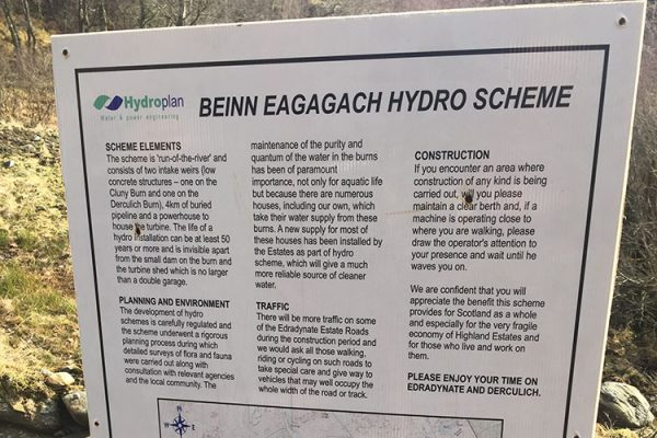 A colour image of the Beinn Eagagach Hydro Scheme information board